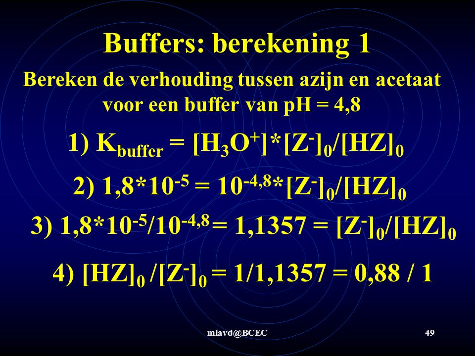 1) Kbuffer = [H3O+]*[Z-]0/[HZ]0